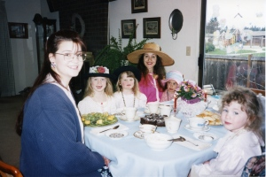 Tea with friends.  Victoria is on the right and Catherine and Lauren are in the black hats.