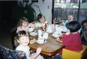 My girls having tea with their younger friends.